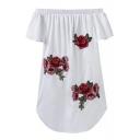 Fashion Floral Embroidered Applique Off the Shoulder Asymmetrical Hem Mini Dress