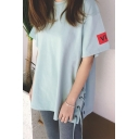 Summer's New Design Round Neck Short Sleeve Letter Patched Lace Up Side Oversize Tee