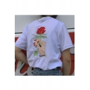 Unisex Embroidery Hand Floral Pattern Short Sleeve Round Neck Off-Duty Tee