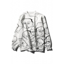 Cartoon Face Printed Round Neck Long Sleeve Casual Loose Pullover Sweatshirt