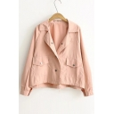 Plain Basic Lapel Collar Long Sleeve Single Breasted Cropped Coat with Pockets