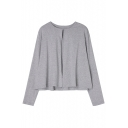 New Arrival Round Neck Long Sleeve Single Button Plain Cardigan