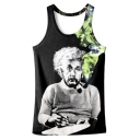 Einstein Green Smoke Printed Scoop Neck Sleeveless Graphic Tank Tee