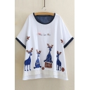 Round Neck Short Sleeve Cartoon Printed Lace Inserted Hem Leisure T-Shirt
