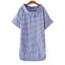 Women's Lapel Striped Color Block Short Sleeve High Low Hem T-Shirt Asymmetric Dress