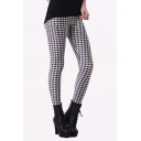 Classic Houndstooth Pattern Black White Color Block Sexy Leggings
