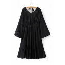 Women's V-Neck Tied Back Bell Long Sleeve Plain Ruched Maxi Dress