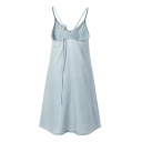 Crisscross Back Spaghetti Straps Plain Denim Swing Slip Dress