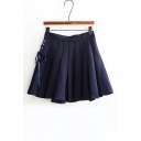High Rise Lace-Up Side Grommet Plain A-Line Pleated Skirt