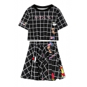 Check Cartoon Printed Round Neck Short Sleeve T-Shirt A-Line Mini Skirt Co-ords