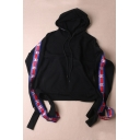 New Arrival Long Sleeve Colorful Striped Print Sleeve Oversize Boxy Hoodie