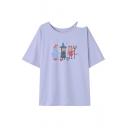 Summer's Round Neck Half Sleeve Cold Shoulder Cartoon Printed T-Shirt