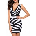 Sexy Plunge V-Neck Striped Color Block Sleeveless Mini Bodycon Dress