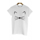 Cute Simple Cat Face Printed Short Sleeve Round Neck Casual Tee