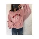 Loose Drawstring Hooded Long Sleeve Embroidery Floral Pattern Hoodie Sweatshirt