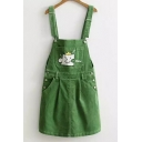 Cartoon Embroidered Straps Sleeveless Corduroy Overall Midi Dress with Pockets