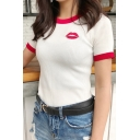 Women's Red Lips Embroidery Contrast Trim Short Sleeve Round Neck Sweater