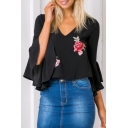 Summer's Chiffon Floral Printed V Neck Open Back Bell Sleeve Pullover Blouse
