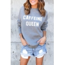Women's CAFFEINE QUEEN Letter Printed Long Sleeve Round Neck Pullover Sweatshirt
