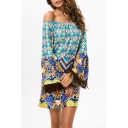 Women's Sexy Off the Shoulder Long Sleeve Tassel Cuffs Printed Mini Dress