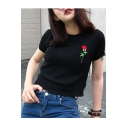 Vintage Chic Round Neck Short Sleeve Floral Embroidered Knit Pullover Sweater