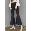 New Arrival Side Zip Plain High Waist Skinny Flare Pants