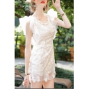Lady's Elegant Ruffle Hem Round Neck Lace Inserted Organza Mini Dress
