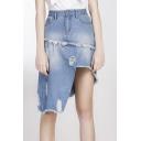 New Arrival High Low Asymmetric Hem Ripped Denim Skirt