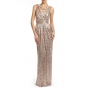 Plunge Neck Sleeveless V Back Chic Sequined Maxi Party Dress