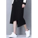 New Collection Plain Zip Back Basic Stylish Asymmetrical Hem Midi Skirt
