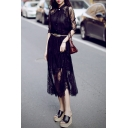 Glamorous Single Breasted Half Sleeve Plain Lace Midi Shirt Dress