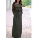 Casual Long Sleeve Round Neck Belt Waist Maxi T-Shirt Dress with Pockets