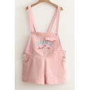 Summer's Letter Embroidered Casual Leisure Cotton Overalls with Pockets