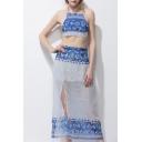 Summer's Sexy Halter Neck Crisscross Back Cropped Top Polka Dot Printed Split Side Maxi Skirt Set