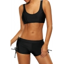 Sports Straps Cropped Tank Top More Coverage String Side Swimwear