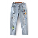 New Fashion Embroidered Tassel Inserted Ripped Cut Out Capri Jeans
