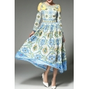 Round Neck Long Sleeve Elegant Floral Printed Maxi A-Line Dress