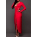 New Sexy Plunge Neck Long Sleeve Hollow Out Waist Plain Split Front Maxi Dress