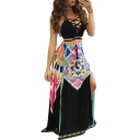 Sexy Halter Crisscross Cutout Front Plain Cami with Tribal Printed Split Sides Maxi Skirt Two Pieces