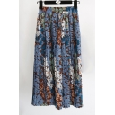 Women's Floral Printed Color Block Maxi Pleated Skirt