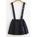 Basic Simple Printed Elastic Waist Students' Pleated Mini Overall Skirt