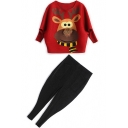 Cartoon Deer Printed Round Neck Batwing Sleeve Top Tapered Capris Fashion Co-ords