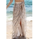 Sexy Split Front Sequined Mesh Maxi Skirt with Bow