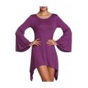 Casual Bell Long Sleeve Round Neck Plain Asymmetric Hem T-Shirt Dress
