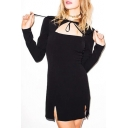 Women's Cutout Front Tied Round Neck Long Sleeve Split Sides Plain Mini Dress