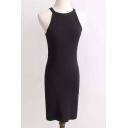Street Style Round Neck Plain Bodycon Knit Mini Tank Dress
