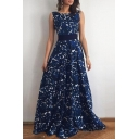 Chic Sleeveless Floral Printed V-Back Belt Waist Maxi Party Dress