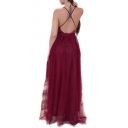 Crisscross Back Sexy Plunge V-Neck Sleeveless Sequined Mesh Patchwork Plain Maxi Cami Dress