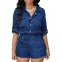 Women's Half Sleeve Lapel Single Breasted Plain Denim Rompers