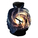New Arrival Stylish Galaxy Printed Long Sleeve Casual Hoodie